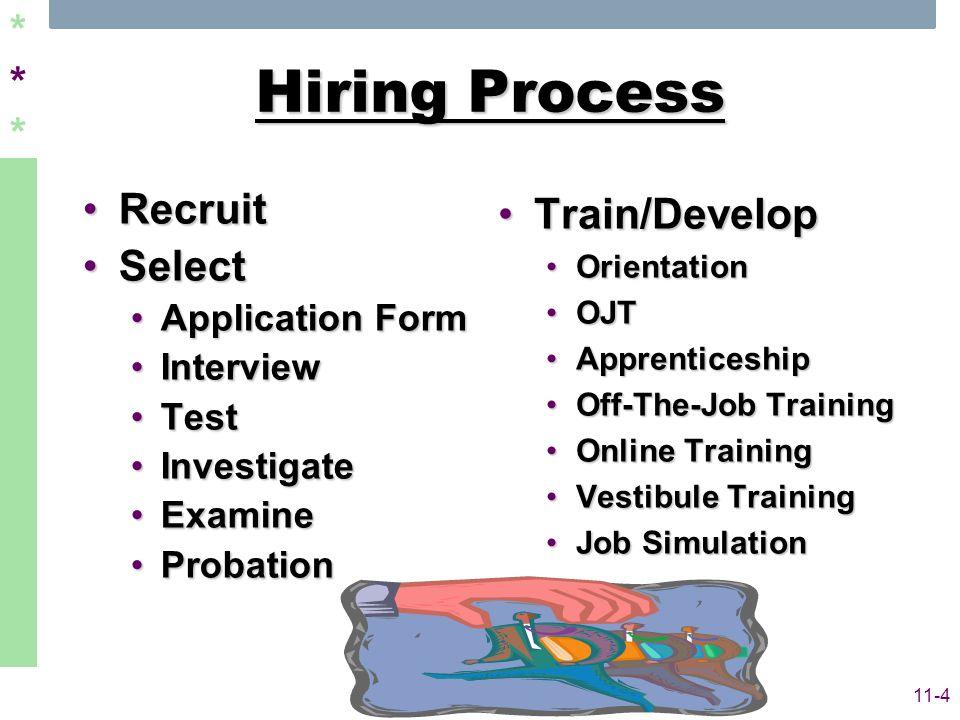 ****** 11-4 Hiring Process RecruitRecruit SelectSelect Application FormApplication Form InterviewInterview TestTest InvestigateInvestigate ExamineExamine ProbationProbation Train/DevelopTrain/Develop OrientationOrientation OJTOJT ApprenticeshipApprenticeship Off-The-Job TrainingOff-The-Job Training Online TrainingOnline Training Vestibule TrainingVestibule Training Job SimulationJob Simulation