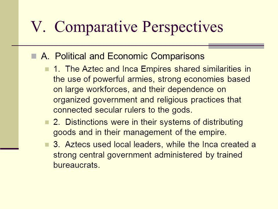 V. Comparative Perspectives A. Political and Economic Comparisons 1. The Aztec and Inca Empires shared similarities in the use of powerful armies, str
