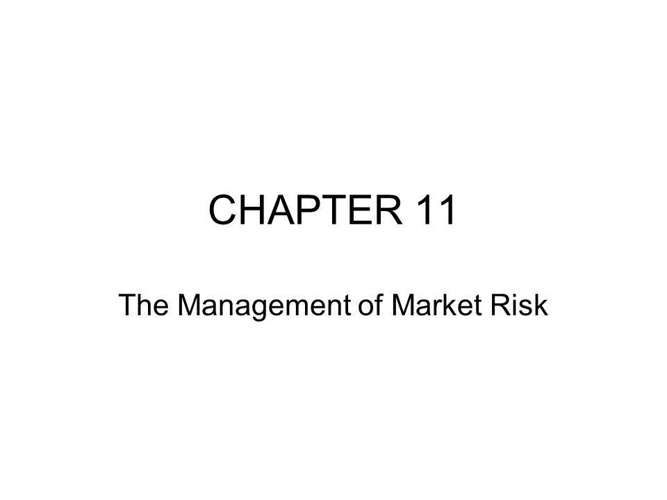 INTRODUCTION In the previous chapters, we spent a large amount of time describing how risks can be measured In this chapter, we discuss how risk measurement is used in risk management A bank s risk-management function is typically headed by the chief risk officer (CRO) Reporting to the CRO will be –the chief credit officer –the chief market risk officer –the chief operating risk officer Within the market-risk organization there are three groups –policies and procedures –risk measurement –risk management