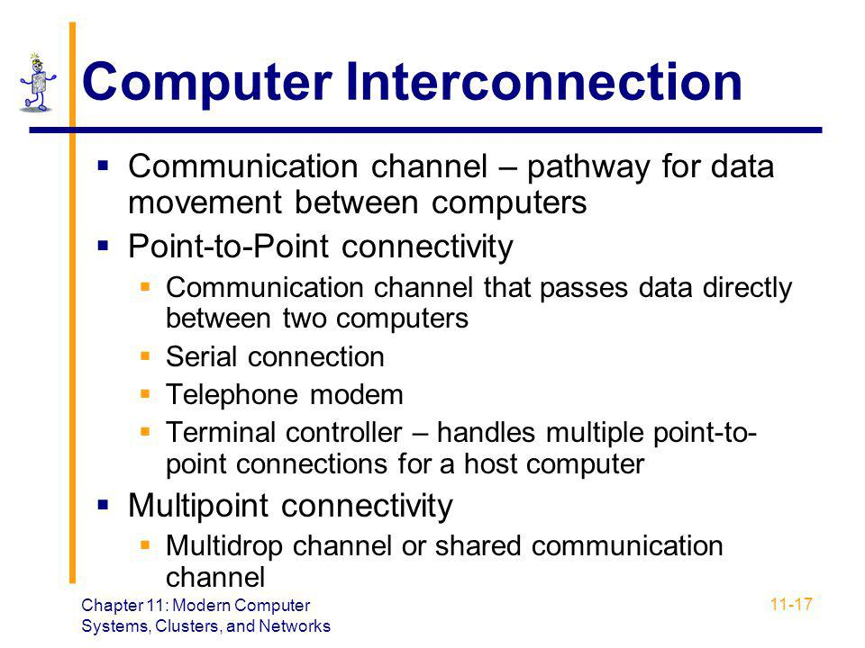 Chapter 11: Modern Computer Systems, Clusters, and Networks 11-17 Computer Interconnection  Communication channel – pathway for data movement between