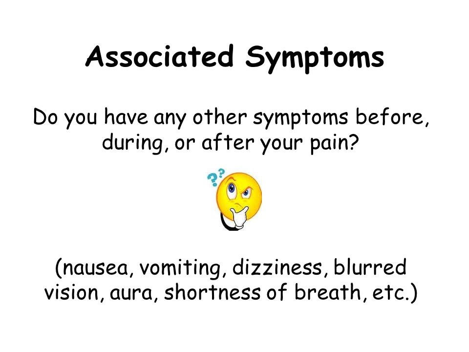 Associated Symptoms Do you have any other symptoms before, during, or after your pain.