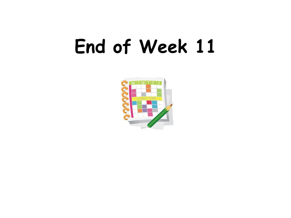 End of Week 11