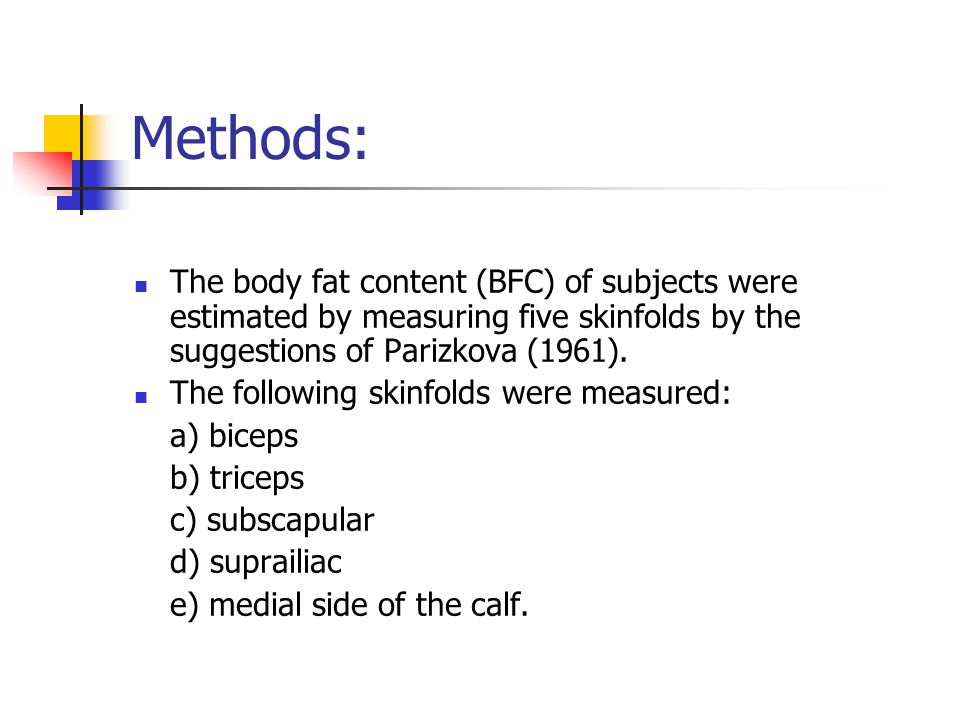 Methods: The body fat content (BFC) of subjects were estimated by measuring five skinfolds by the suggestions of Parizkova (1961).