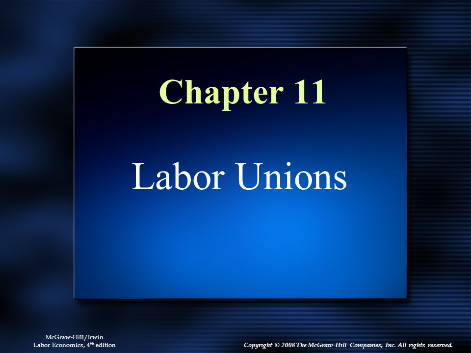 11 - 33 Unions and Wage Dispersion The dispersion of wages in the unionized sector is 25 percent less than the dispersion of wages in the nonunionized sector Unionized firms offer a lower payoff to education than nonunionized firms Unions flatten the age-earnings profile