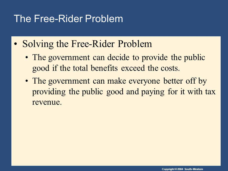 Copyright © 2004 South-Western The Free-Rider Problem Solving the Free-Rider Problem The government can decide to provide the public good if the total benefits exceed the costs.