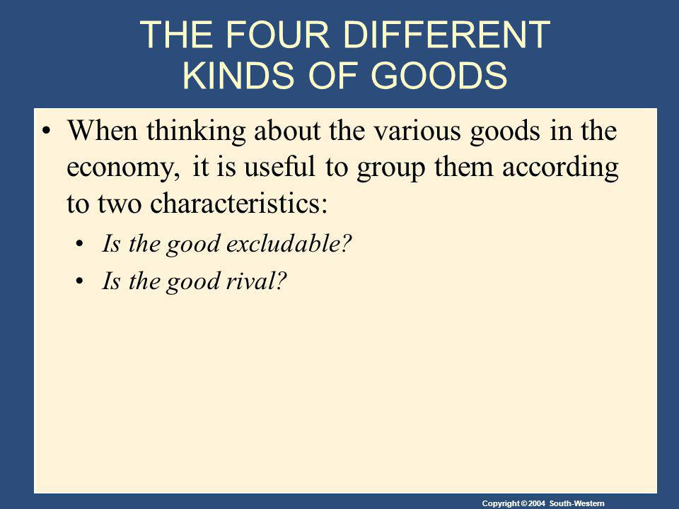 Copyright © 2004 South-Western THE FOUR DIFFERENT KINDS OF GOODS When thinking about the various goods in the economy, it is useful to group them according to two characteristics: Is the good excludable.