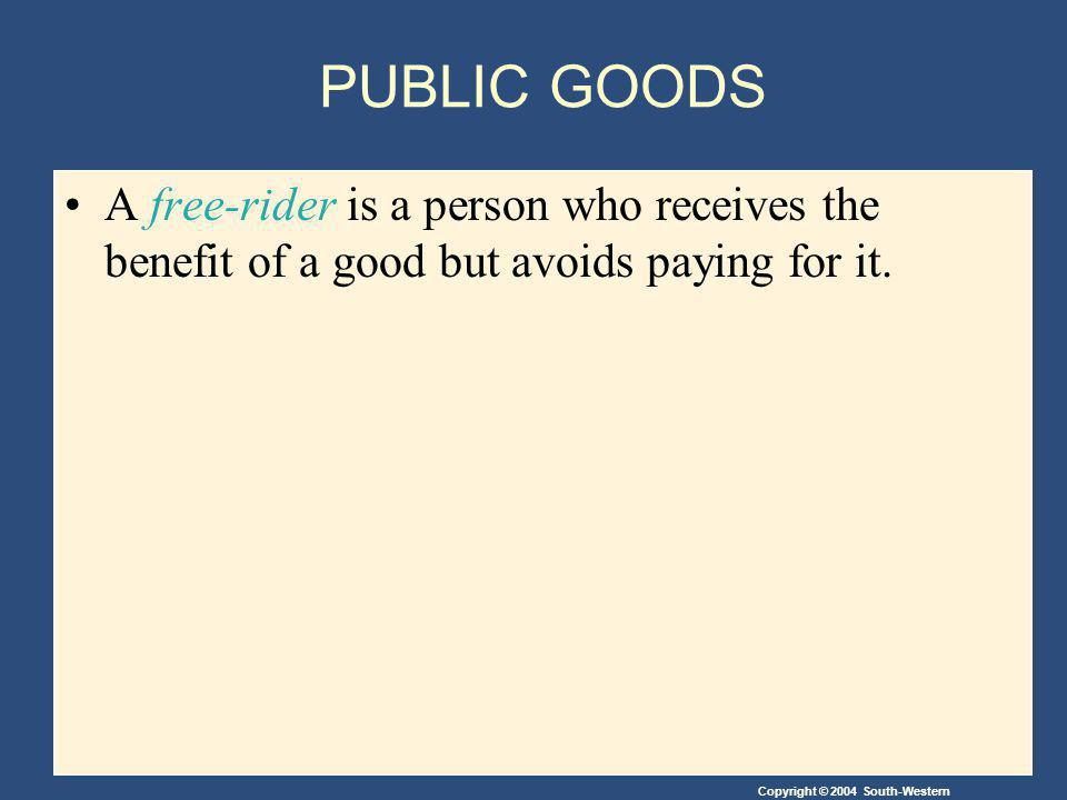Copyright © 2004 South-Western The Free-Rider Problem Since people cannot be excluded from enjoying the benefits of a public good, individuals may withhold paying for the good hoping that others will pay for it.