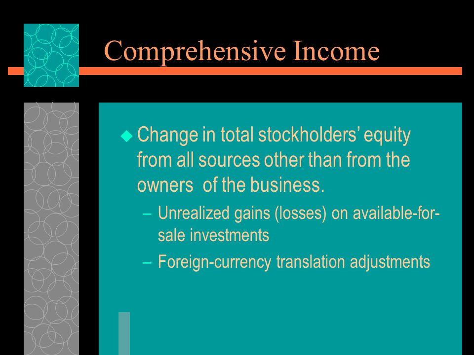 Comprehensive Income  Change in total stockholders' equity from all sources other than from the owners of the business. –Unrealized gains (losses) on