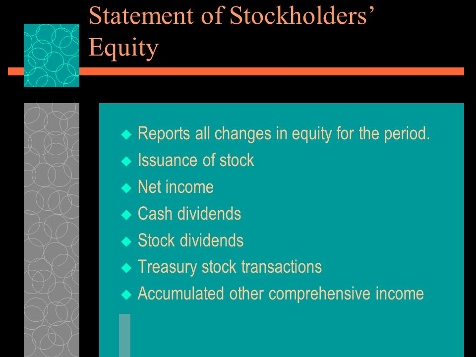 Statement of Stockholders' Equity  Reports all changes in equity for the period.  Issuance of stock  Net income  Cash dividends  Stock dividends