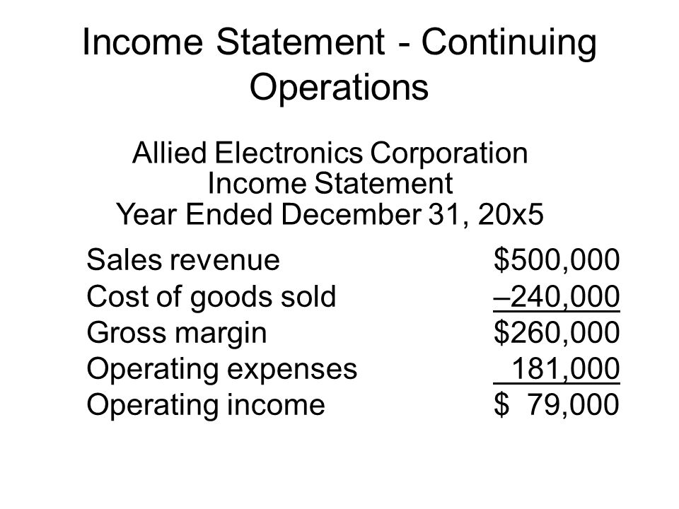 Income Statement - Continuing Operations Allied Electronics Corporation Income Statement Year Ended December 31, 20x5 Sales revenue$500,000 Cost of go