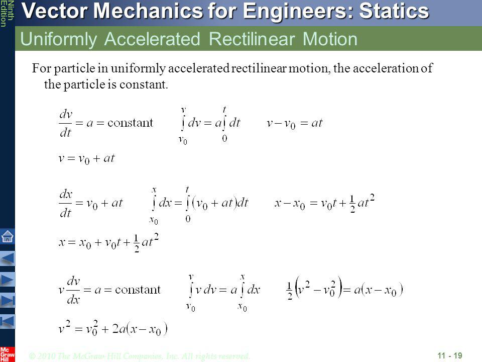 © 2010 The McGraw-Hill Companies, Inc. All rights reserved. Vector Mechanics for Engineers: Statics NinthEdition Uniformly Accelerated Rectilinear Mot