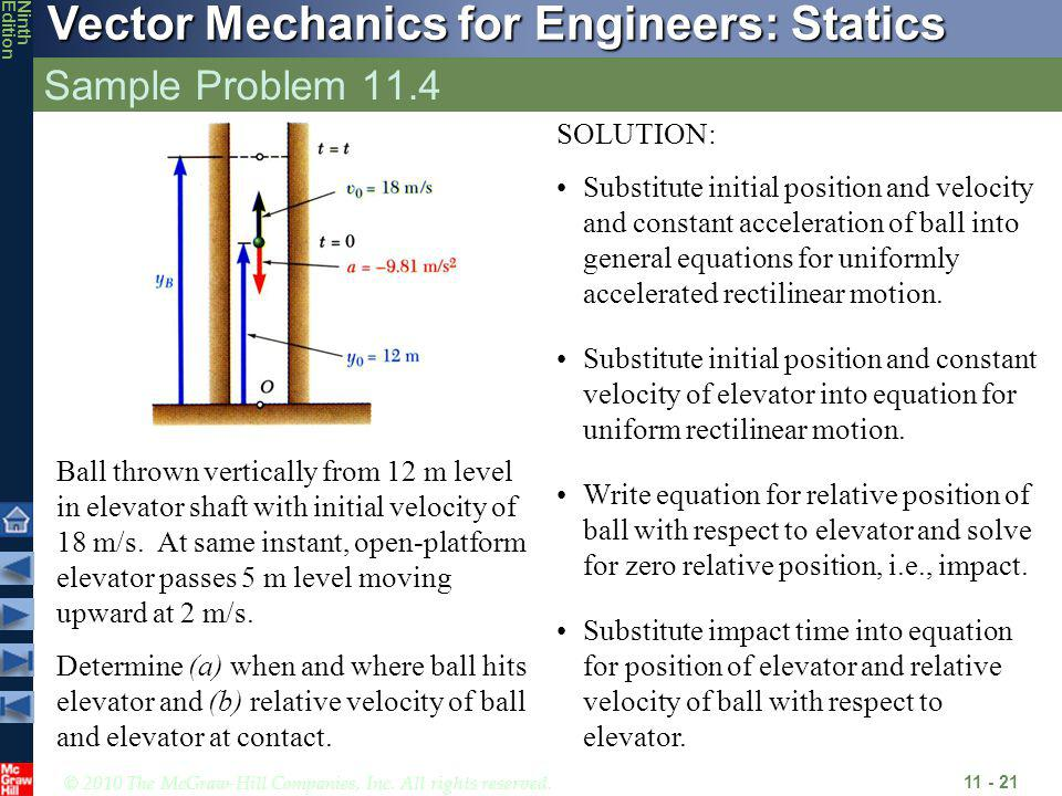 © 2010 The McGraw-Hill Companies, Inc. All rights reserved. Vector Mechanics for Engineers: Statics NinthEdition Sample Problem 11.4 11 - 21 Ball thro