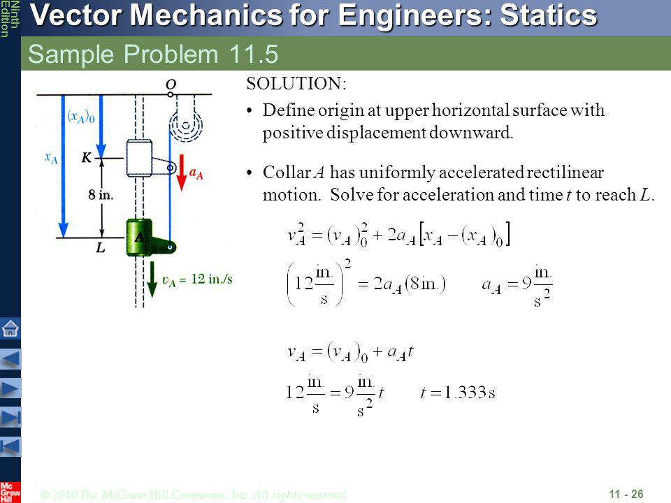 © 2010 The McGraw-Hill Companies, Inc. All rights reserved. Vector Mechanics for Engineers: Statics NinthEdition Sample Problem 11.5 11 - 26 SOLUTION: