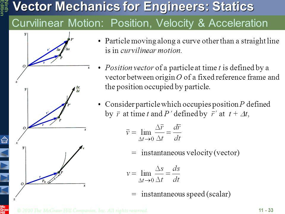 © 2010 The McGraw-Hill Companies, Inc. All rights reserved. Vector Mechanics for Engineers: Statics NinthEdition Curvilinear Motion: Position, Velocit