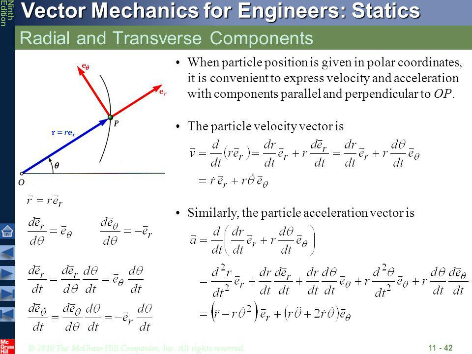 © 2010 The McGraw-Hill Companies, Inc. All rights reserved. Vector Mechanics for Engineers: Statics NinthEdition Radial and Transverse Components 11 -