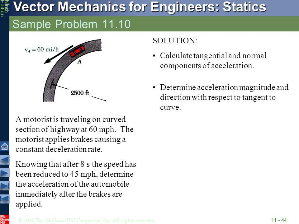 © 2010 The McGraw-Hill Companies, Inc. All rights reserved. Vector Mechanics for Engineers: Statics NinthEdition Sample Problem 11.10 11 - 44 A motori