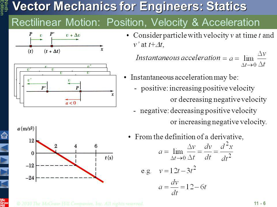 © 2010 The McGraw-Hill Companies, Inc. All rights reserved. Vector Mechanics for Engineers: Statics NinthEdition Rectilinear Motion: Position, Velocit