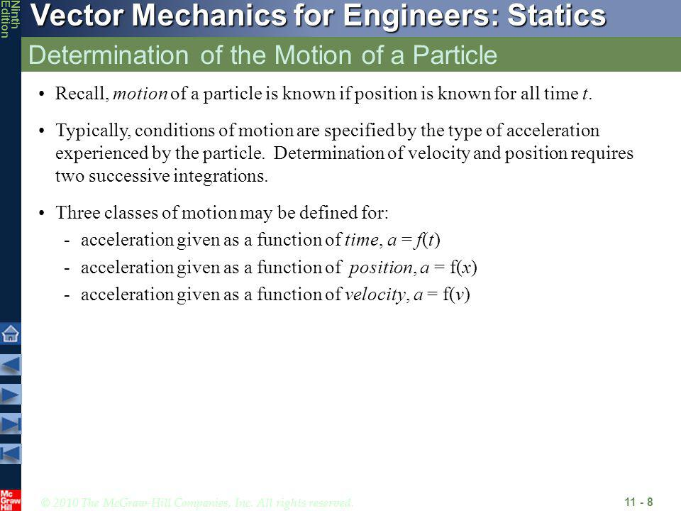 © 2010 The McGraw-Hill Companies, Inc. All rights reserved. Vector Mechanics for Engineers: Statics NinthEdition Determination of the Motion of a Part
