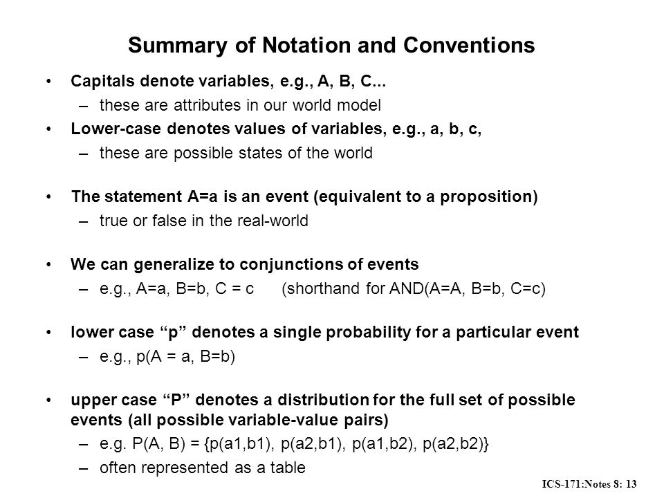 ICS-171:Notes 8: 13 Summary of Notation and Conventions Capitals denote variables, e.g., A, B, C...