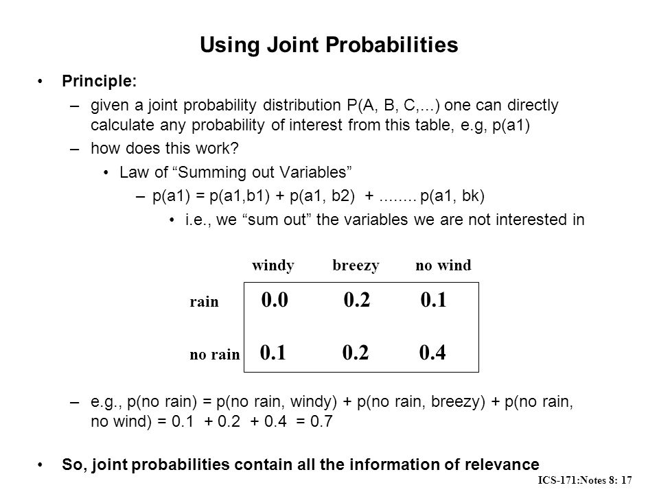 ICS-171:Notes 8: 17 Using Joint Probabilities Principle: –given a joint probability distribution P(A, B, C,...) one can directly calculate any probability of interest from this table, e.g, p(a1) –how does this work.
