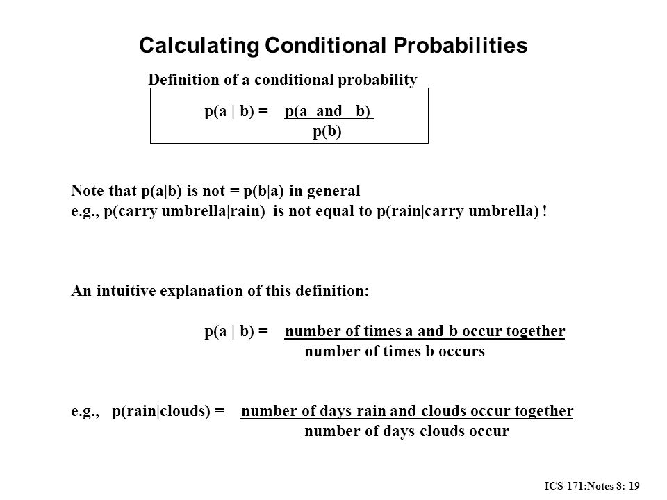 ICS-171:Notes 8: 19 Calculating Conditional Probabilities p(a | b) = p(a and b) p(b) Note that p(a|b) is not = p(b|a) in general e.g., p(carry umbrella|rain) is not equal to p(rain|carry umbrella) .