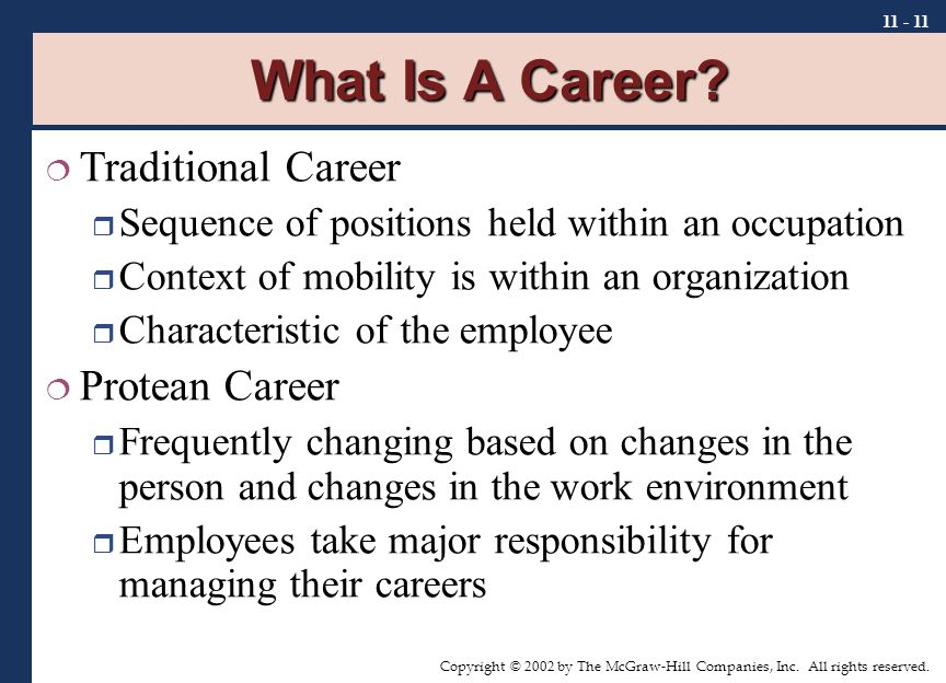 Copyright © 2002 by The McGraw-Hill Companies, Inc. All rights reserved. 11 - 11 What Is A Career?  Traditional Career  Sequence of positions held w