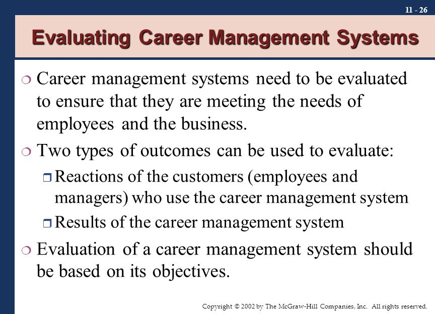 Copyright © 2002 by The McGraw-Hill Companies, Inc. All rights reserved. 11 - 26 Evaluating Career Management Systems  Career management systems need