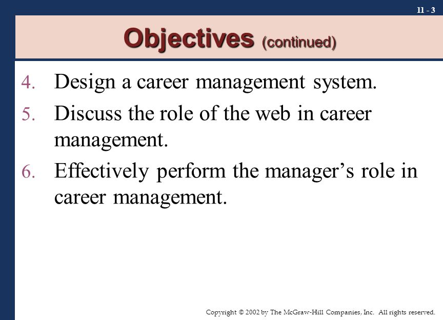 Copyright © 2002 by The McGraw-Hill Companies, Inc. All rights reserved. 11 - 3 Objectives (continued) 4. Design a career management system. 5. Discus