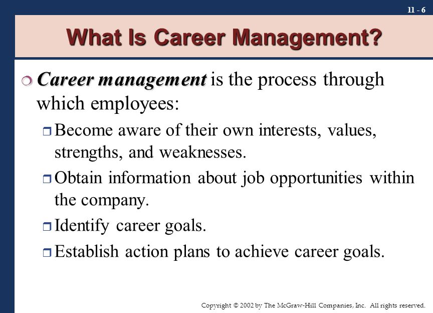 Copyright © 2002 by The McGraw-Hill Companies, Inc. All rights reserved. 11 - 6 What Is Career Management?  Career management  Career management is