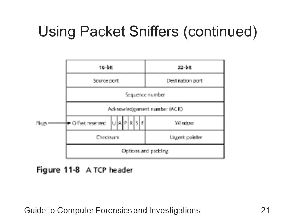 Guide to Computer Forensics and Investigations21 Using Packet Sniffers (continued)