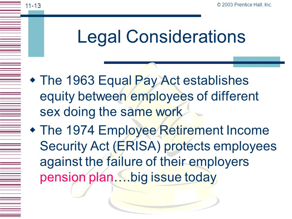 © 2003 Prentice Hall, Inc. 11-12 Legal Considerations  Title VII of the 1964 Civil Rights Act makes it unlawful for employers to discriminate against