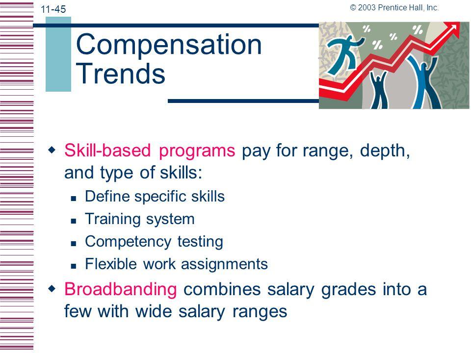 © 2003 Prentice Hall, Inc. 11-44 Compensating Professionals  Job emphasizes creativity and problem solving  Job evaluation is useful  Some discipli