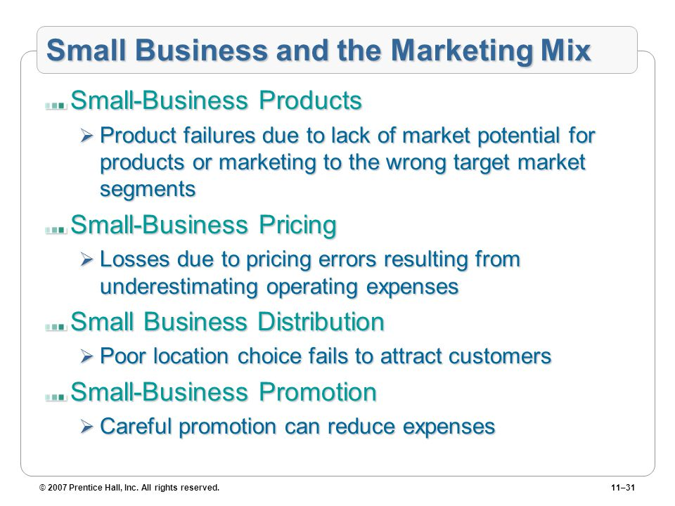 © 2007 Prentice Hall, Inc. All rights reserved.11–31 Small Business and the Marketing Mix Small-Business Products  Product failures due to lack of ma