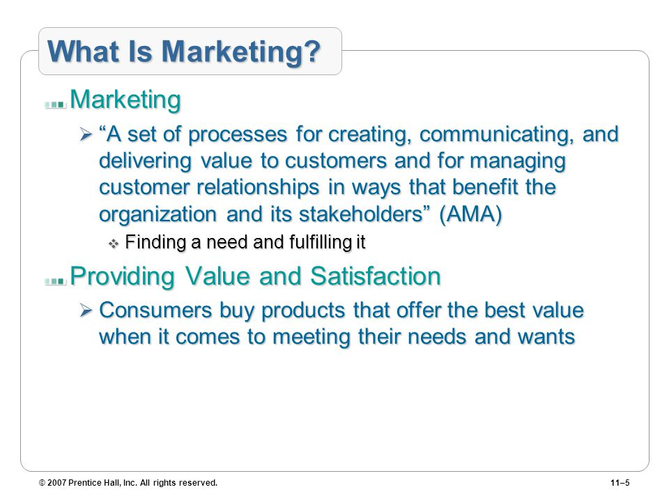 "© 2007 Prentice Hall, Inc. All rights reserved.11–5 What Is Marketing? Marketing  ""A set of processes for creating, communicating, and delivering val"