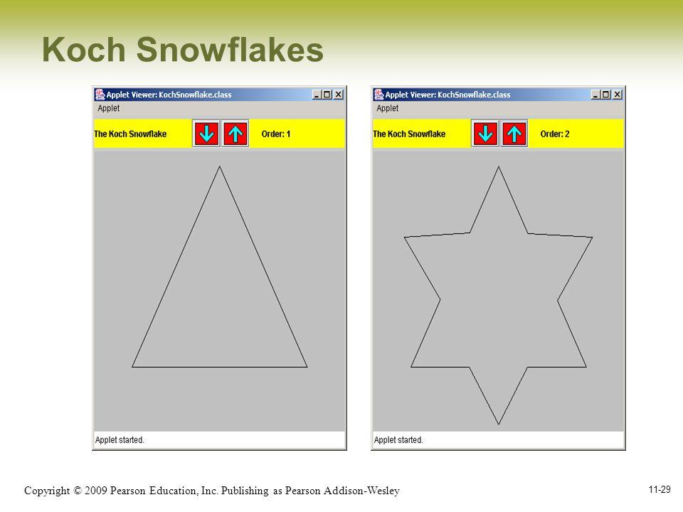 Copyright © 2009 Pearson Education, Inc. Publishing as Pearson Addison-Wesley 11-29 Koch Snowflakes