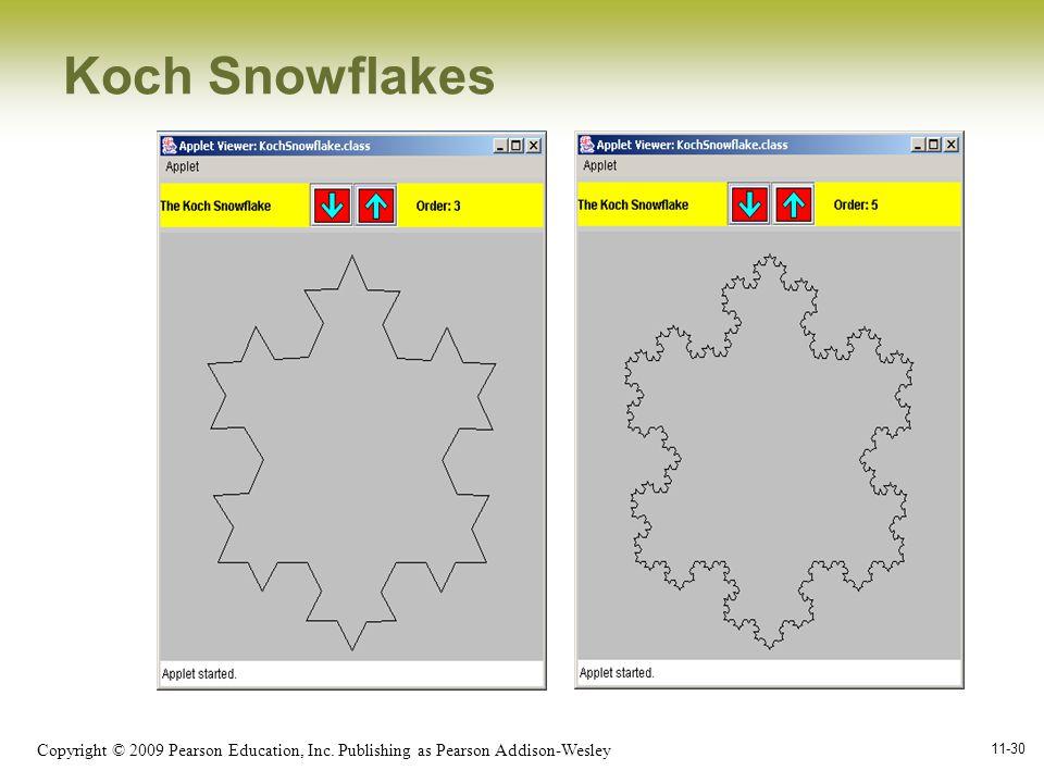 Copyright © 2009 Pearson Education, Inc. Publishing as Pearson Addison-Wesley 11-30 Koch Snowflakes