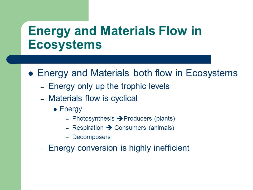 Energy and Materials Flow in Ecosystems Producers take energy from the sun [nutrients] +CO 2 + sunlight  O 2 + [high energy molecules] Consumers respire [high-energy molecules] + O 2  CO 2 + [nutrients] Waste formed known as detritus Decomposers break-down detritus from plants and animals