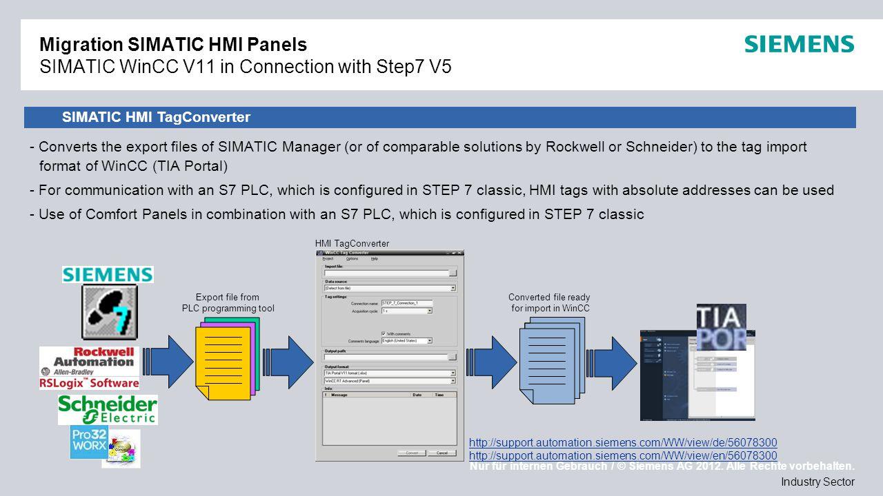Nur für internen Gebrauch / © Siemens AG 2012. Alle Rechte vorbehalten. Industry Sector Migration SIMATIC HMI Panels SIMATIC WinCC V11 in Connection w