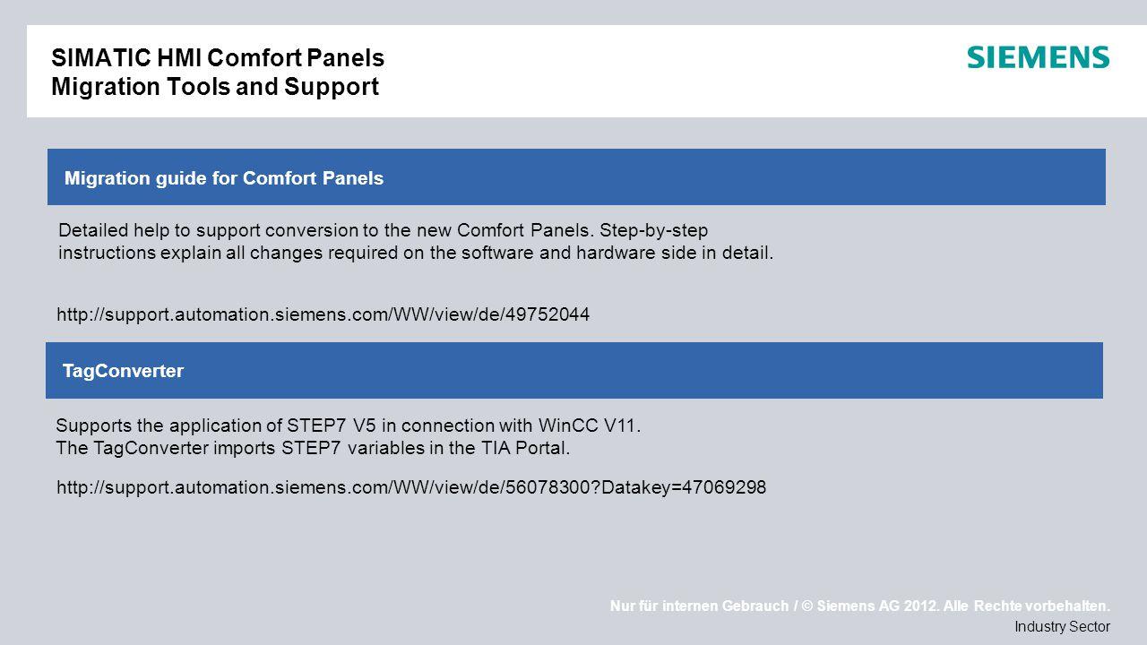 Nur für internen Gebrauch / © Siemens AG 2012. Alle Rechte vorbehalten. Industry Sector Migration guide for Comfort Panels SIMATIC HMI Comfort Panels