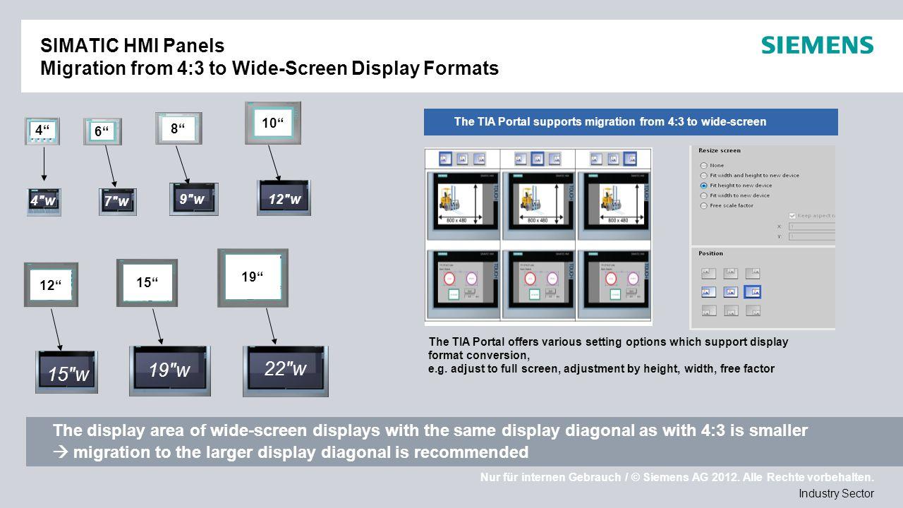 Nur für internen Gebrauch / © Siemens AG 2012. Alle Rechte vorbehalten. Industry Sector SIMATIC HMI Panels Migration from 4:3 to Wide-Screen Display F