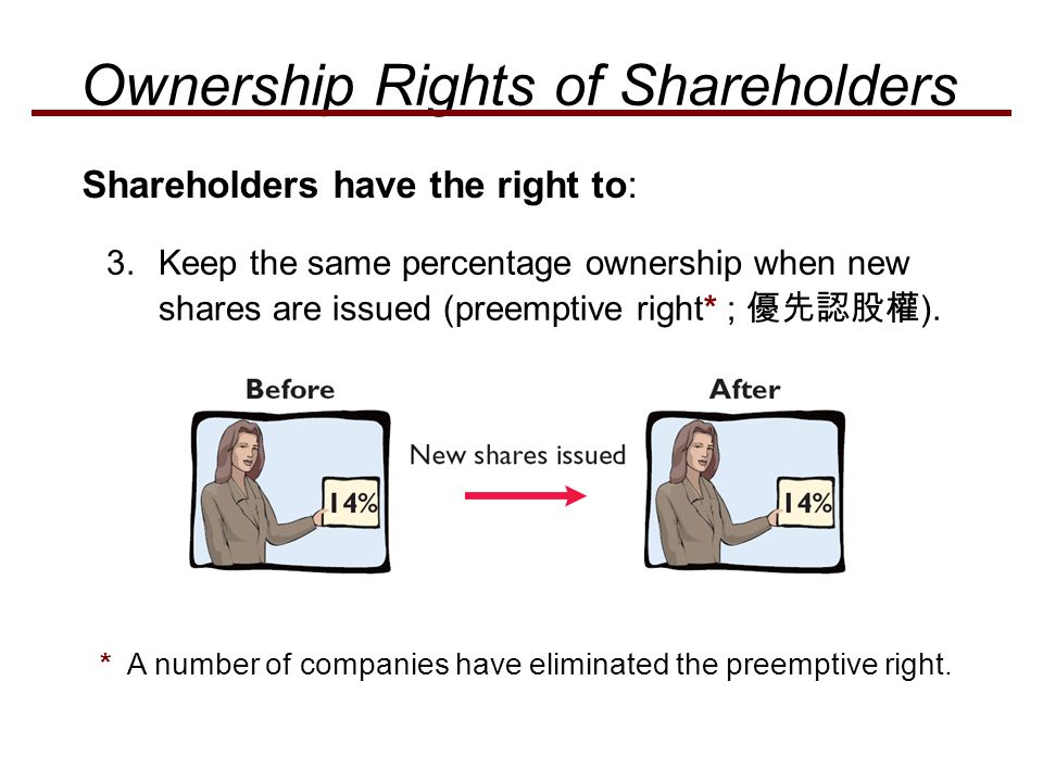 3.Keep the same percentage ownership when new shares are issued (preemptive right* ; 優先認股權 ). * A number of companies have eliminated the preemptive r