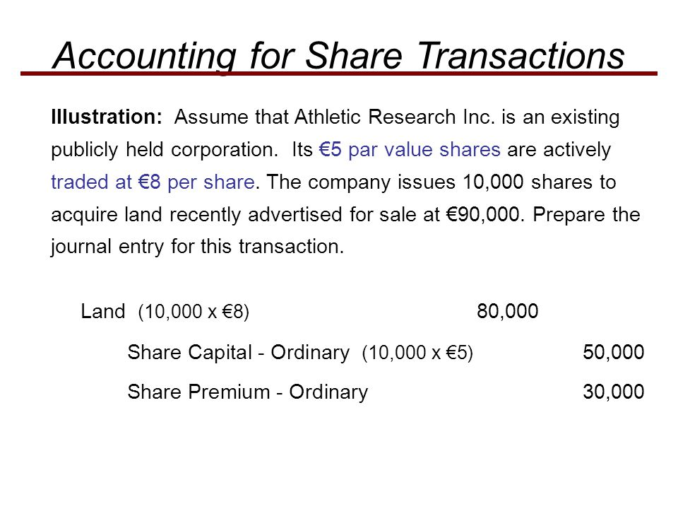 Illustration: Assume that Athletic Research Inc. is an existing publicly held corporation. Its €5 par value shares are actively traded at €8 per share