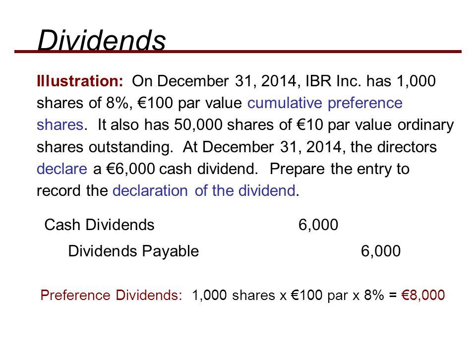Illustration: On December 31, 2014, IBR Inc. has 1,000 shares of 8%, €100 par value cumulative preference shares. It also has 50,000 shares of €10 par