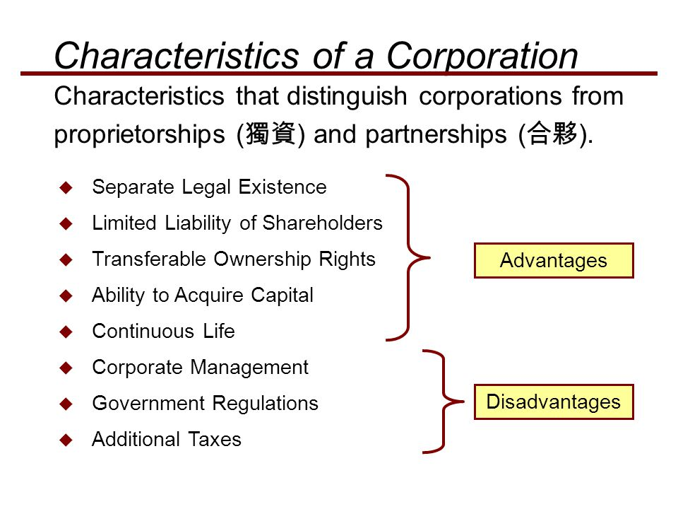  Separate Legal Existence  Limited Liability of Shareholders  Transferable Ownership Rights  Ability to Acquire Capital  Continuous Life  Corpor
