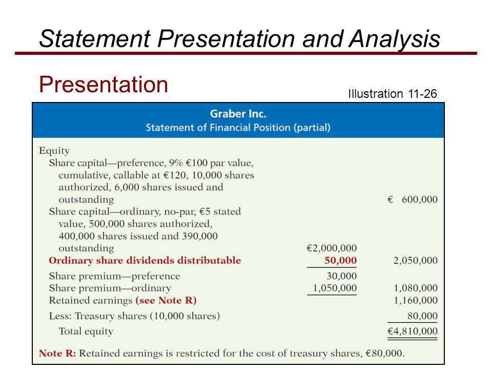 Illustration 11-26 Statement Presentation and Analysis Presentation