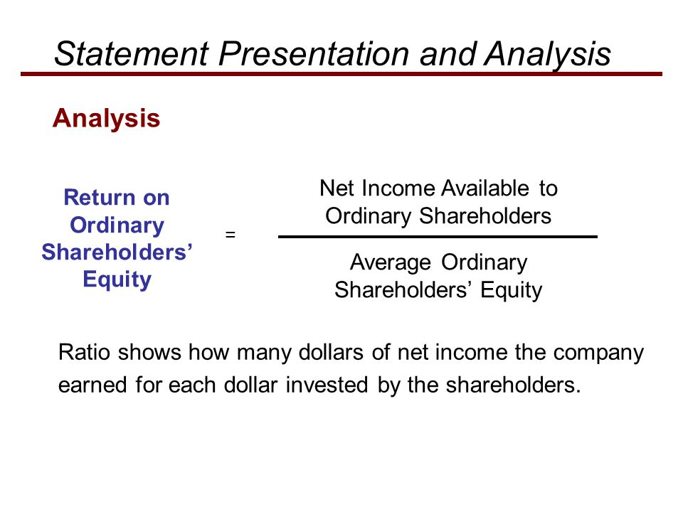 Net Income Available to Ordinary Shareholders Return on Ordinary Shareholders' Equity = Average Ordinary Shareholders' Equity Ratio shows how many dol
