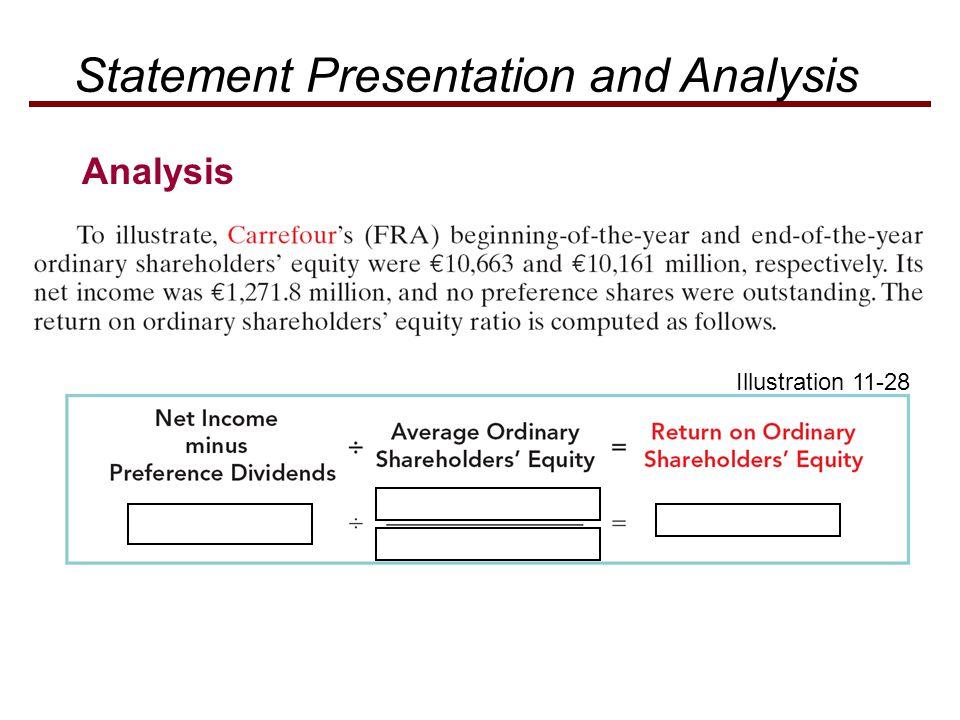 Illustration 11-28 Statement Presentation and Analysis