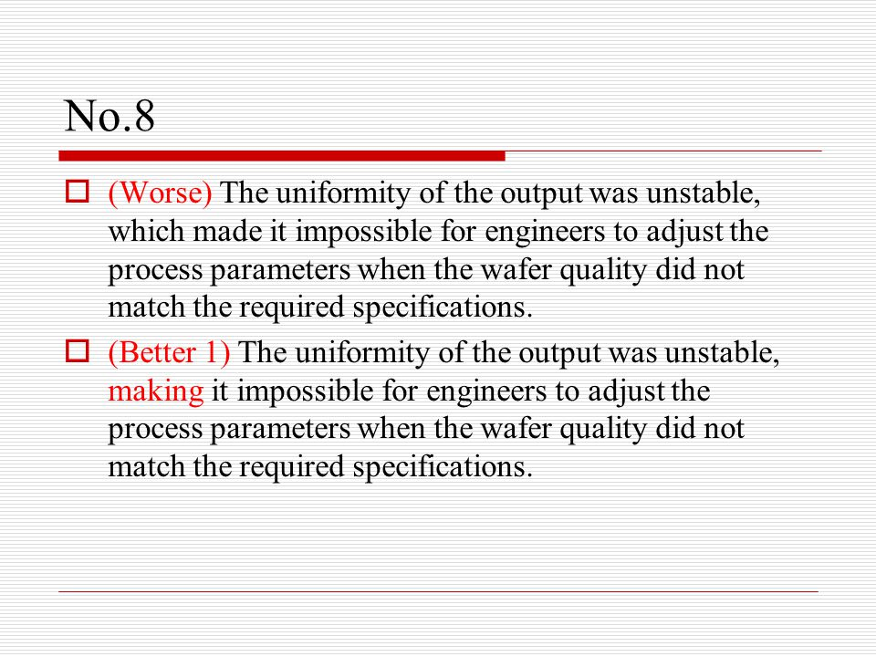 No.8  (Worse) The uniformity of the output was unstable, which made it impossible for engineers to adjust the process parameters when the wafer quality did not match the required specifications.