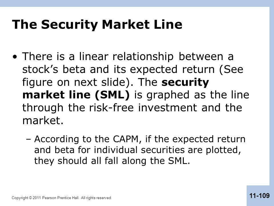Copyright © 2011 Pearson Prentice Hall. All rights reserved. 11-109 The Security Market Line There is a linear relationship between a stock's beta and