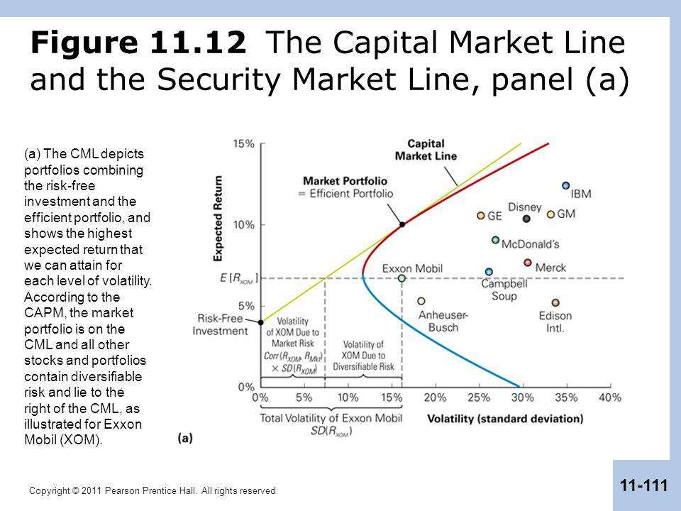 Copyright © 2011 Pearson Prentice Hall. All rights reserved. 11-111 Figure 11.12 The Capital Market Line and the Security Market Line, panel (a) (a) T